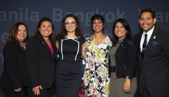 From Left To Right: Beatriz Peguero, Director And Analytical Team Lead For S&P Global; Janine Ting Jansen, CHCI Alumna And S&P Global's Human Resources Business Partner And Analyst; Domenika Lynch, President And CEO Of CHCI; Cynthia Medina Carson, Executive Recruiter For Nielsen; Laura Marquéz, Head Of Latino Community Engagement For Google; And Amilcar Guzmán, National President Of CHCI Alumni Association.