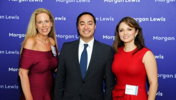 From Left To Right: Anne Marie Estevez, Morgan Lewis Partner And CHCI General Counsel; Congressman Joaquin Castro, U.S. Representative (TX-20) And CHCI Chair; Domenika Lynch, President And CEO Of CHCI. (Photo Credit: Jill Kahn)
